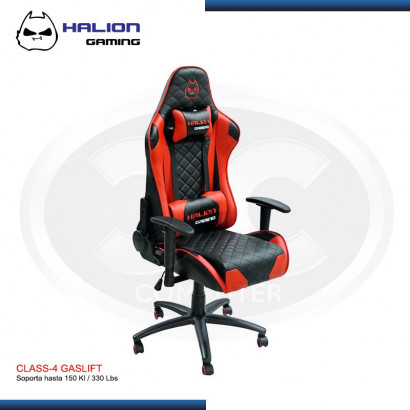 SILLA GAMER HALION HA-S41 NEGRO/ ROJO 150KG, 180º, CLASS-4