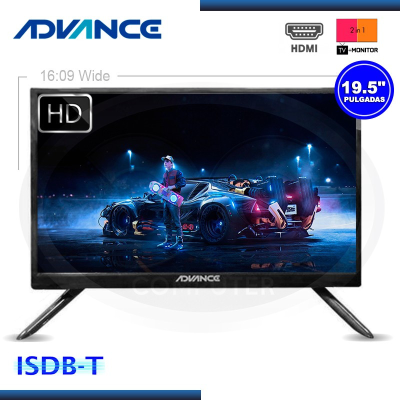 "MONITOR TV LED 19"" ADVANCE ADV19N00D 1366 X 768 ISDB-T/HDMI/VGA"