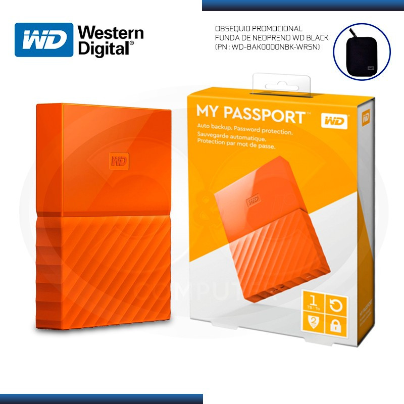 DISCO DURO 1TB EXTERNO WD MY PASSPORT ORANGE USB 3.0 (PN:WDBYNN0010BOR-0B)