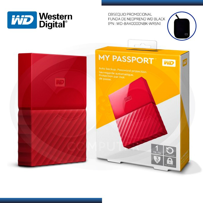 DISCO DURO 1TB EXTERNO WD MY PASSPORT RED USB 3.0 (PN:WDBYNN0010BRD-0B)