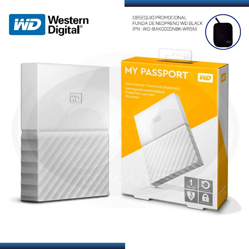 DISCO DURO 1TB EXTERNO WD MY PASSPORT WHITE USB 3.0 (PN:WDBYNN0010BWT-0B)