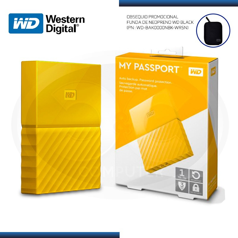 DISCO DURO 1TB EXTERNO WD MY PASSPORT YELLOW USB 3.0 (PN:WDBYNN0010BYL-0B)