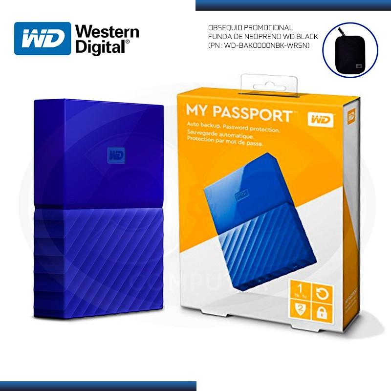DISCO DURO 1TB EXTERNO WD MY PASSPORT BLUE USB 3.0 (PN:WDBYNN0010BBL-0B)