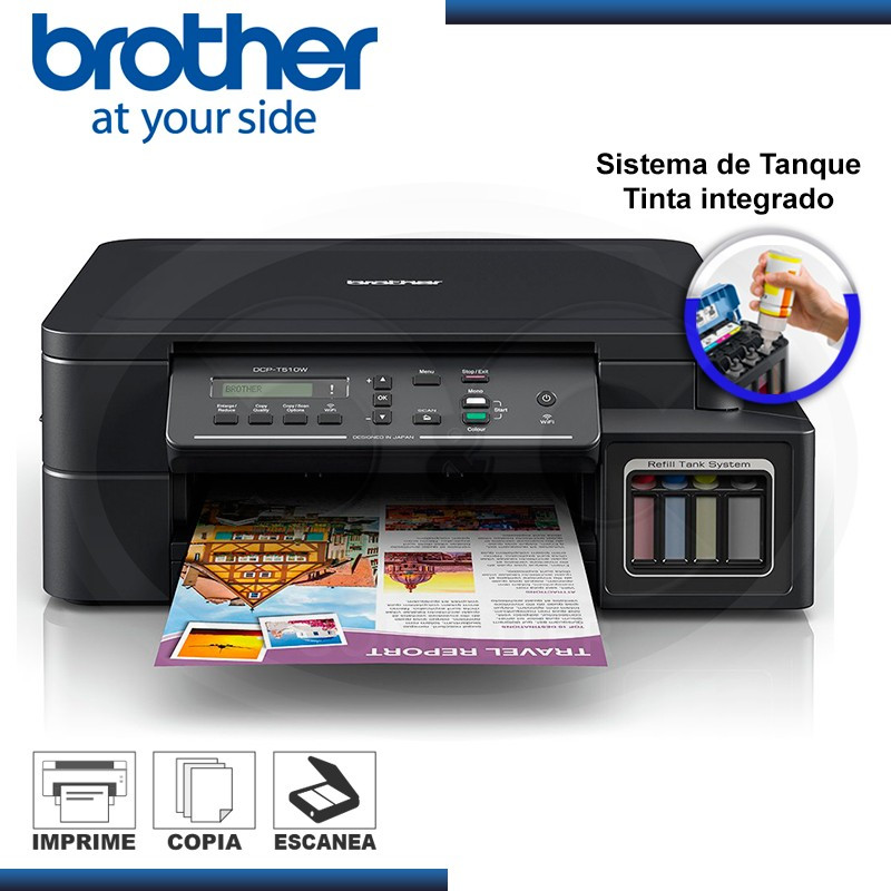 Impresora Brother Dcp T510w Multifuncional Tinta Continua Wifi