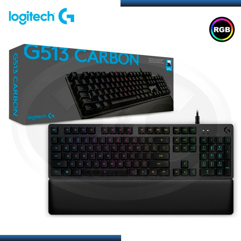 TECLADO LOGITECH G513 CARBON RGB ALUMINIO BACKLIGHT MECHANICAL GAMING