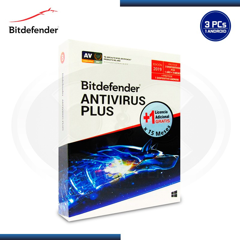 BITDEFENDER ANTIVIRUS PLUS 2019 3PCS + 1PC 15 MESES +1 ANDROID