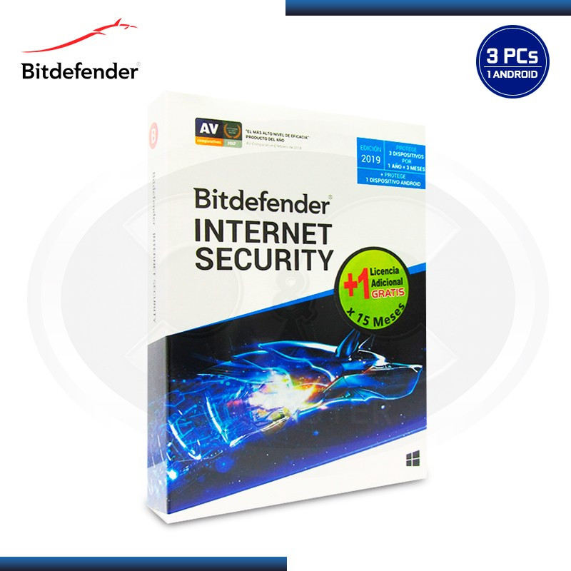 BITDEFENDER INTERNET SECURITY 2019 3PC + 1PC 15 MESES +1 ANDROID