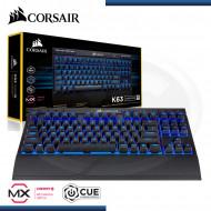 TECLADO CORSAIR K63 GAMING / WIRELESS / MECANICO MULTIMEDIA / CHERRY MX RED / LED BLUE (PN: CH9145030-NA )