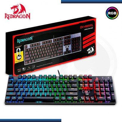 TECLADO REDRAGON DEVARAJAS K556 NEGRO RGB SWITCHES OUTEMU BROWN (PN:K556RGB-SP)