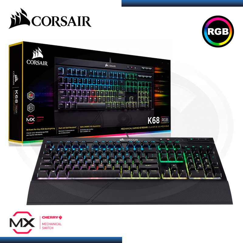 TECLADO CORSAIR K68 RGB GAMING MECANICO CHERRY MX RED LED ESPAÑOL (PN:CH9102010-SP)