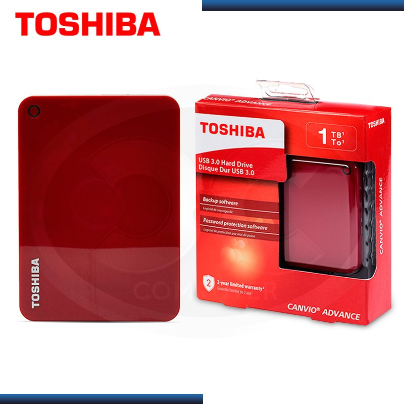 """DISCO DURO 1TB EXTERNO TOSHIBA CANVIO ADVANCE ROJO 2.5"""" USB 3.0 (PN:HDTC910XR3AA)"""