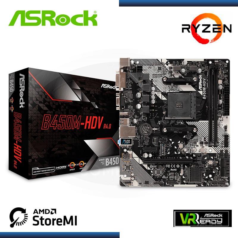 MB ASROCK B450M-HDV R4.0 AMD RYZEN DDR4 AM4 (PN:90-MXB9N0-A0UAYZ)