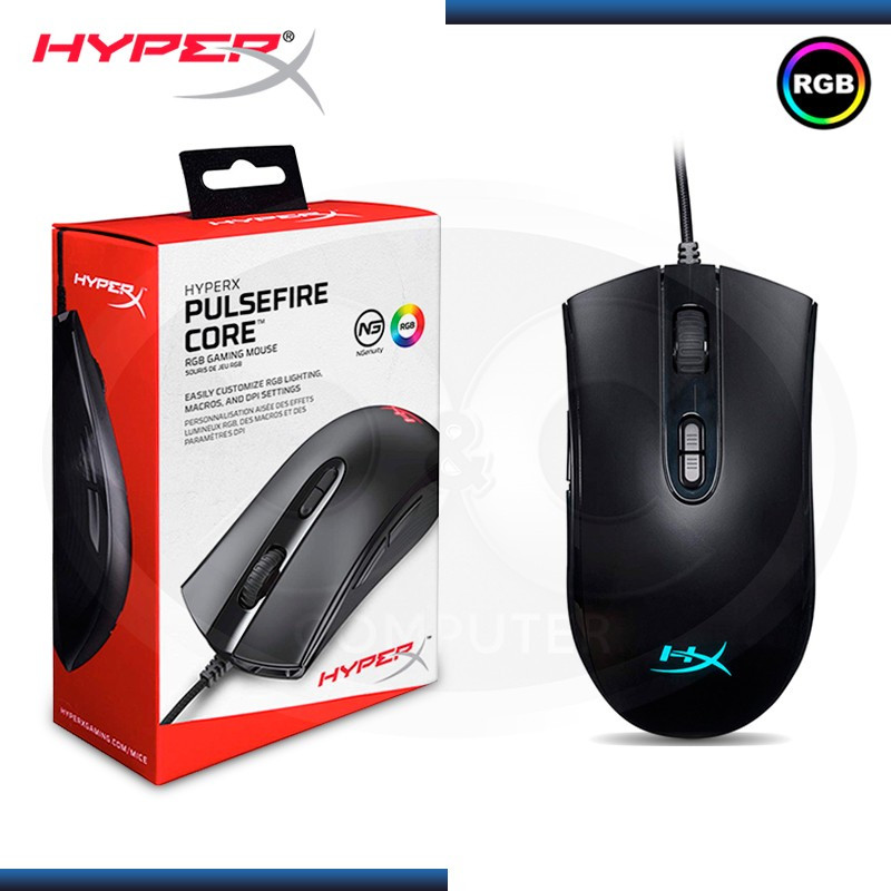 MOUSE HYPERX PULSEFIRE CORE RGB GAMING 6200 DPI BLACK (PN:HX-MC004B)