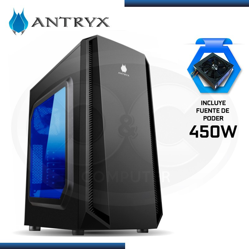 CASE ANTRYX E280 PLUS LED BLUE + FUENTE 450W USB 2.0/USB 3.0