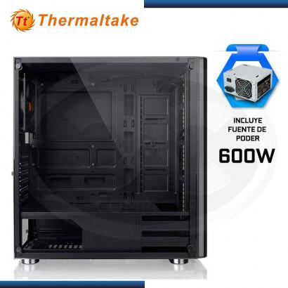 CASE THERMALTAKE V200 TG VIDRIO TEMPLADO BLACK CON FUENTE 600W