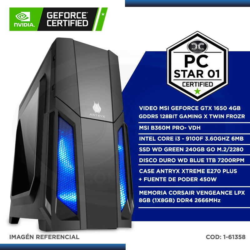 PC STAR 01 LANCENTER GEFORCE CERTIFICADO - 9NA GENERACIÓN