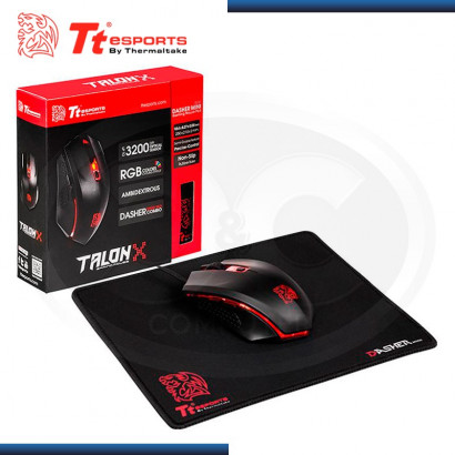 KIT TTESPORTS TALON X GAMING GEAR MOUSE + PAD MOUSE 250x210x2mm (PN:MO-CPC-WDOOBK-01)