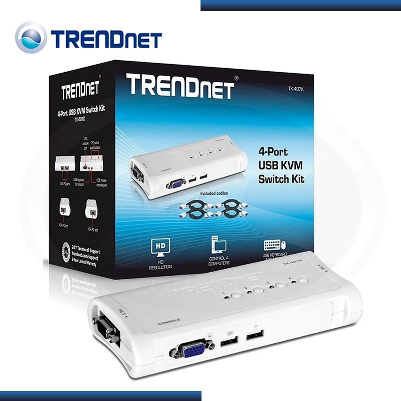 KVM TRENDNET TK-407K 4 PTOS USB + CABLES