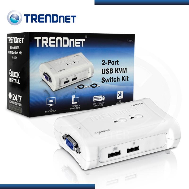 KVM TRENDNET TK-207K  2 PTOS USB + CABLES