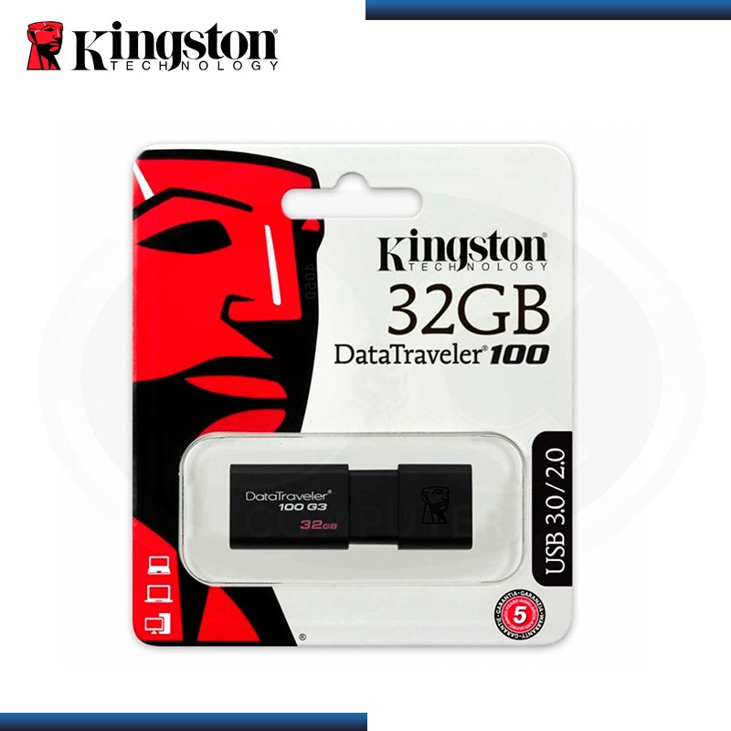 MEMORIA USB 32GB KINGSTON DATATRAVELER 100 G3 BLACK - V 3.0/2.0 (PN:DT100G3/32GB)