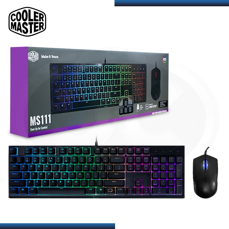 KIT COOLER MASTER MASTERSET 111 TECLADO + MOUSE GAMING RGB (PN:MS-111-KKMF1-LS)