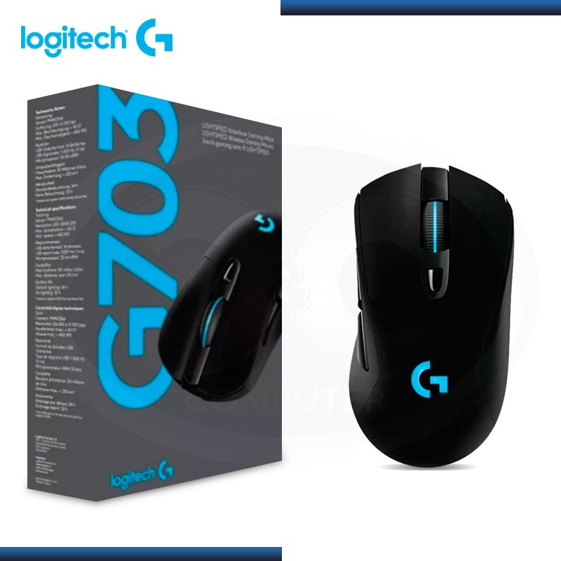 MOUSE LOGITECH G703 GAMING LIGHTSPEED RGB WIRELESS BLACK (PN:910-005638)