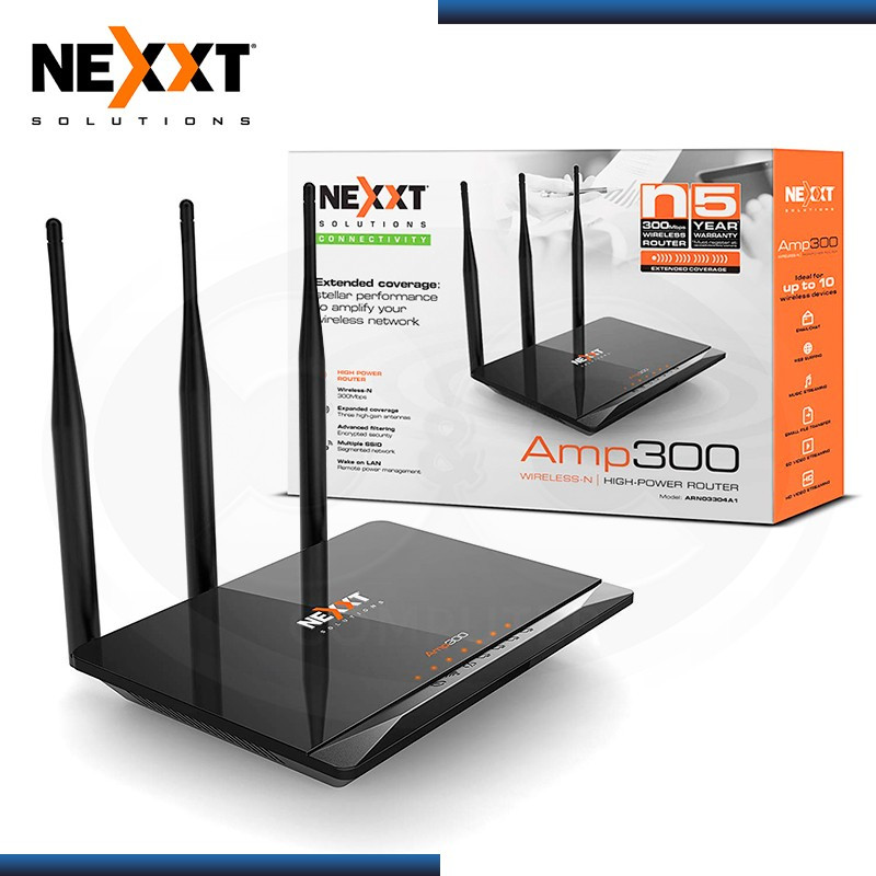 ROUTER NEXXT AMP 300 HIGH-POWER N 300MBPS 3 ANTENAS WIRELESS (PN:ARN02304U8)
