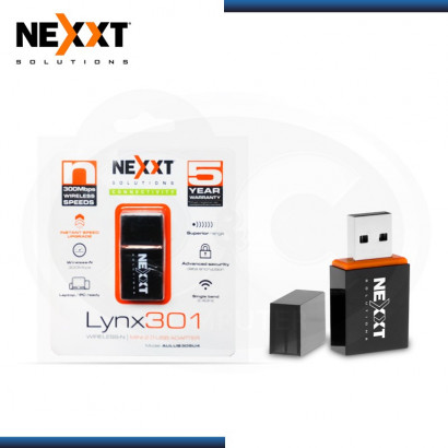 ADAPTADOR USB INALAMBRICO NEXXT LYNX 301 MINI , 300 MBPS / 2.4GHZ / BLACK (N/P AULUB305U4 )