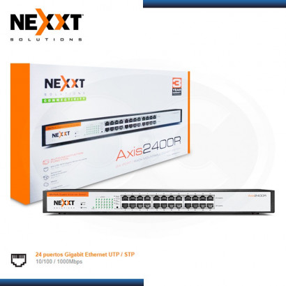 SWITCH GIGABIT NEXXT AXIS 2400R 24 PUERTOS 10/100/1000 MBPS METAL RACKEABLE (N/P ASBRM244U1 )