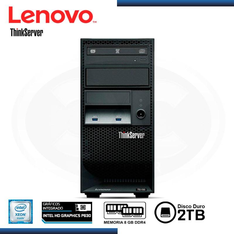 SERVIDOR LENOVO THINKSERVER TS150, INTEL XEON E3-1245V6 3.7GHZ, 8 GB DDR4, 2TB, 4 BAHIAS TOWER.  (70UA-000WLD)