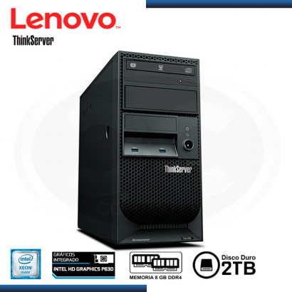 SERVIDOR LENOVO THINKSERVER TS150, INTEL XEON E3-1245V6 3.7GHZ, 8 GB DDR4, 2TB, 4 BAHIAS TOWER.  (70UA-000WLD)