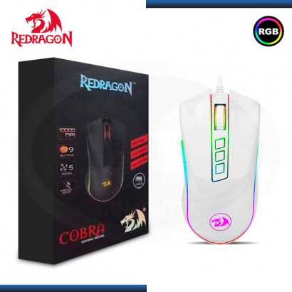 MOUSE OPTICO GAMING REDRAGON COBRA M711 WHITE RGB | 1000DPI | 7 BOTONES | USB
