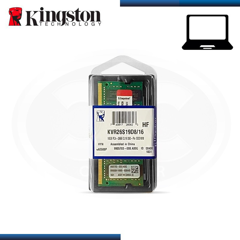 MEMORIA 16GB DDR4 KINGSTON KVR SODIMM BUS 2666MHZ (PN:KVR26S19D8/16)