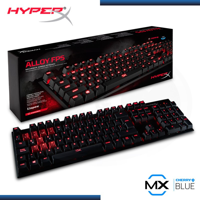 TECLADO GAMING HYPERX ALLOY FPS CHERRY SWITCH BLUE, ESPAÑOL, MECÁNICO, USB, ILUMINACION RED (PN:HX-KB1BL1-LA/A4)