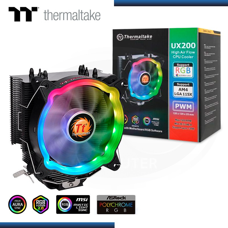 COOLER CPU THERMALTAKE UX200 ARGB AMD/INTEL REFRIGERACION AIRE (PN:CL-P065-AL12SW-A)