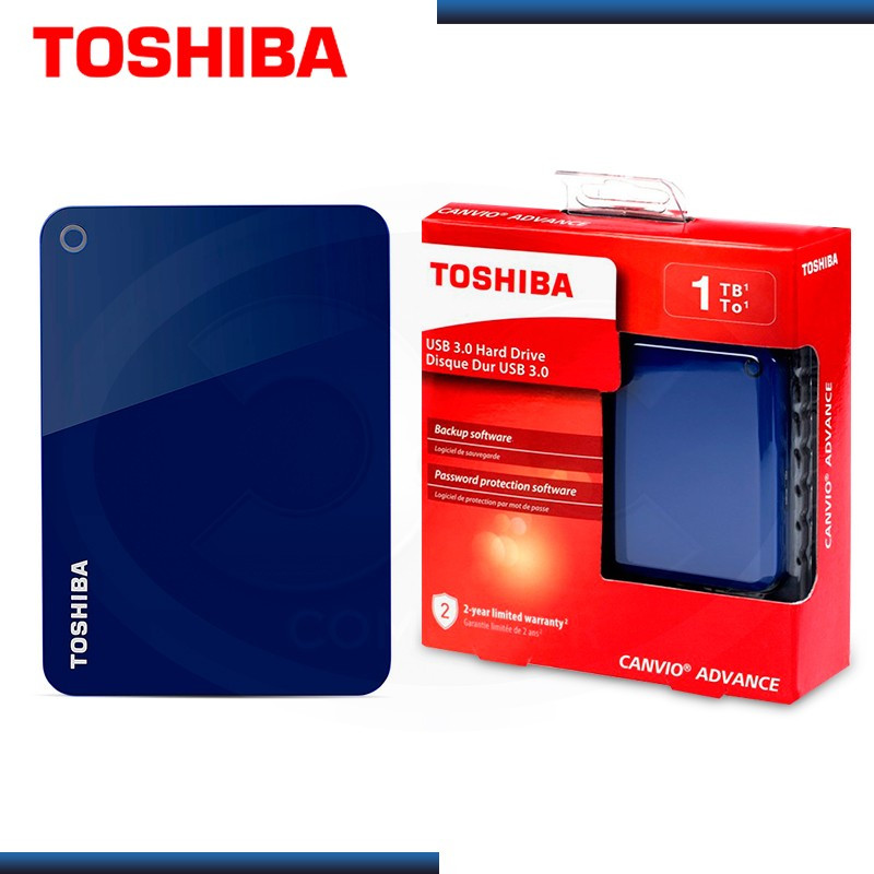 "DISCO DURO 1TB EXTERNO TOSHIBA CANVIO ADVANCE AZUL 2.5"" USB 3.0 (PN:HDTC910XL3AA)"
