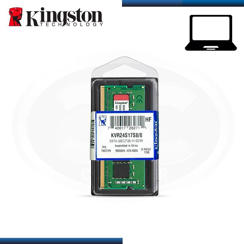 MEMORIA 8GB DDR4 KINGSTON KVR SODIMM BUS 2400MHz (PN:KVR24S17S8/8)