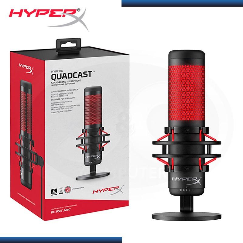 MICROFONO HYPERX QUADCAST USB ANTIVIBRACION BLACK RED (PN:HX-MICQC-BK)