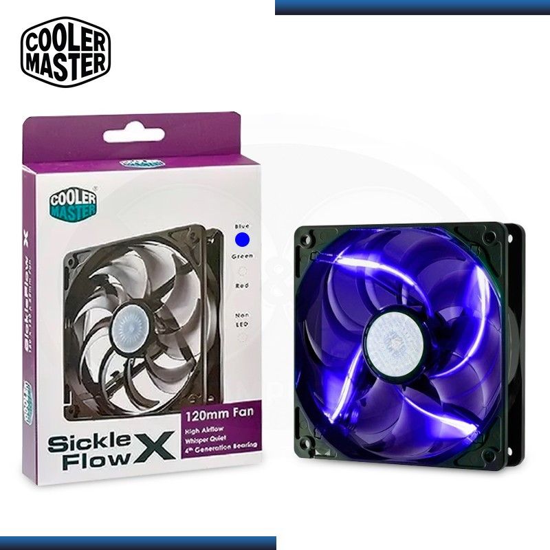 COOLER MASTER SICKLEFLOW LED BLUE 120MM COOLER PARA CASE (PN:R4-SXDP-20FB-R1)