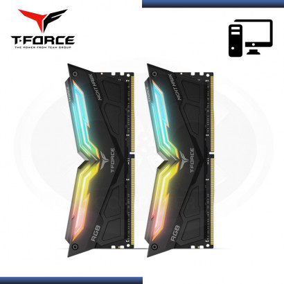 KIT MEMORIA TEAMGROUP T-FORCE NIGHT HAWK RGB BLACK | DDR4 16GB (2x 8GB) 4000MHZ | CL18 | 1.35V (NP: TF1D416G4000HC18EDC01 )