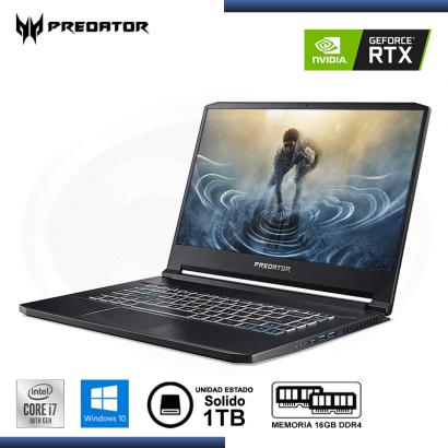 """NOTEBOOK GAMING ACER PREDATOR TRITON 500 15.6""""   CI7-10750H   16GB   SSD 1TB   RTX 2070 SUPER   WIN 10"""