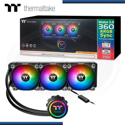 COOLER LIQUIDO P/CPU THERMALTAKE WATER 3.0 | FAN 360 ARGB SYNC ALUMINIO BLACK (PN: CL-W234-PL12SW-B )