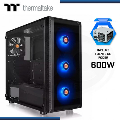 CASE THERMALTAKE VERSA J25 TG RGB C/FUENTE 600 80 PLUS | VIDRIO TEMPLADO | USB 3.0 x2 ((PN: CA-3L8-60M1WZ-00 )
