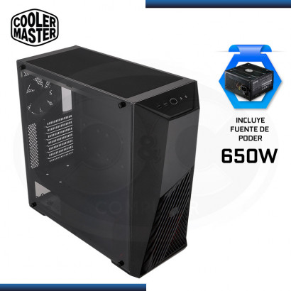 CASE COOLER MASTER  C/FUENTE K501L + MWE WHITE 230V BLACK 650, VIDRIO TEMPLADO (PN: MCB-K501L-KGNB65-SR1 )