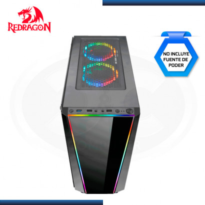 CASE REDRAGON TAILGATE x3 FAN RGB | S/ FUENTE | VIDRIO TEMPLADO | USB 3.0 x1 | USB 2.0  (N/P GC-702 )