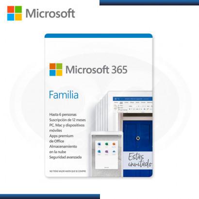 MICROSOFT OFFICE 365 HOGAR  FAMILY 6 PCS ESD / PC / MAC / ESPAÑOL 32/64 BITS (N/P SKU-6GQ-00088TP )