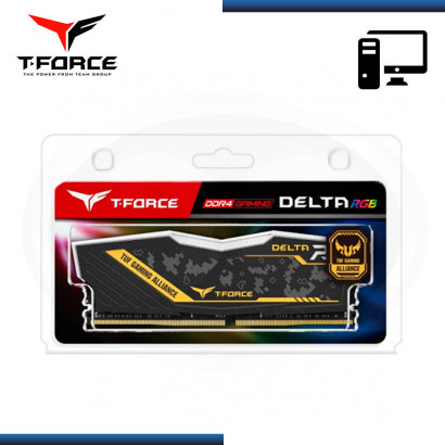 MEMORIA TEAMGROUP T-FORCE DELTA TUF GAMING  ALLIANCE RGB / DDR4 8GB 3200 MHZ / CL16 / 1.35V (N/P: TF9D48G3200HC16CBK )