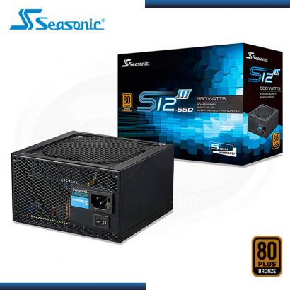 FUENTE PODER SEASONIC S12 III 550W 80 PLUS BRONZE (N/P SSR-550GB3 )
