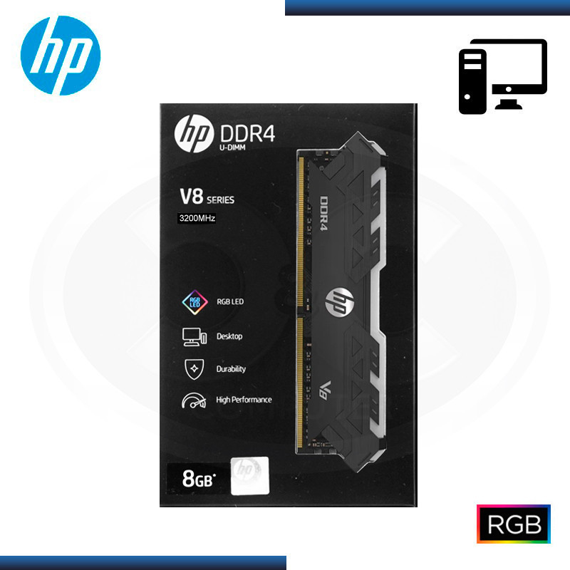 MEMORIA HP V8 RGB DDR4 8GB 3200 MHZ | CL-16 | 1.35V | BLACK (PN: 7EH85AA#ABM )