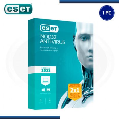 ESET NOD32 ANTIVIRUS 2021 LICENCIA ANUAL 1PC (2x1) (PN:S11010192)